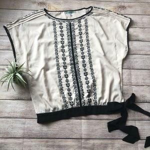Pleione cream embroidered blouse with side tie